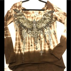 High and low rhinestone top